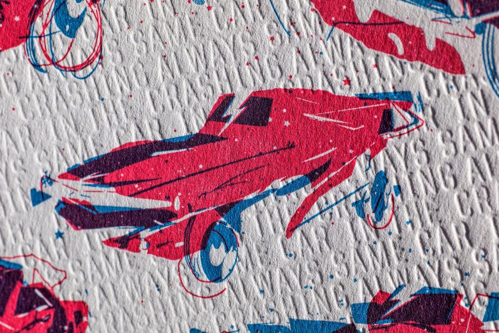 ALWAYS CRASHING IN THE SAME CAR - Letterpress Art Print